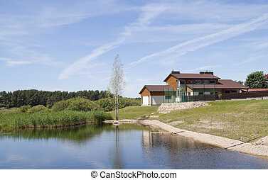 Village on lake bank