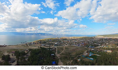 Village on shore of the sea. Aerial shot