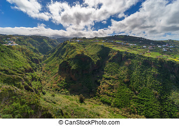 Village on slopes of beatiful valley, Gran Canaria, Spain