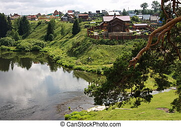 village on the banks of the river Chusovaya in the Perm ...