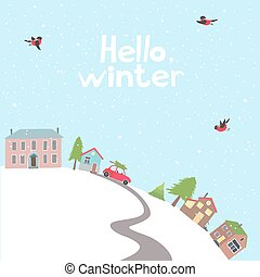 Village on the hill in winter time. - card with view on a ...