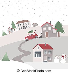 Village on the hill in winter time. - Vector card with view...