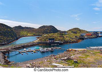 Village on the norwegian island Skrova in sunny day