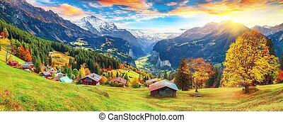 village, pittoresque, fabuleux, automne, wengen, alpin, vue, vallée, lauterbrunnen