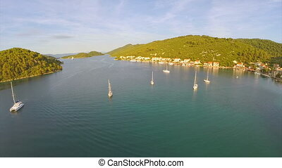 Village Polace on island Mljet, aerial