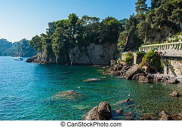 village, portofino, côte, italie, ligurian