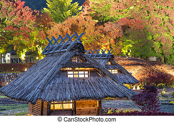 Village Replica in Japan - Kawaguchi-ko, Japan fall light up...