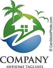 village resort logo - circle modern real estate, hotel,...
