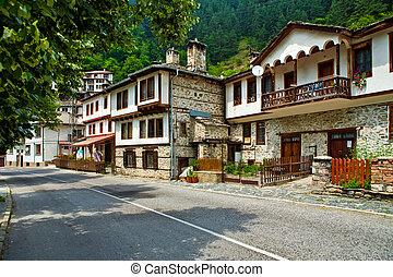 village Shiroka Laka in Bulgaria - The view of houses in...