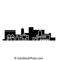 Village skyblack black icon concept. Village skyblack  vector sign, symbol, illustration.