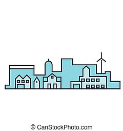 Village skyline line icon concept. Village skyline flat vector sign, symbol, illustration.