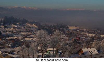 Village smoke winter dawn sunrise sun mountain