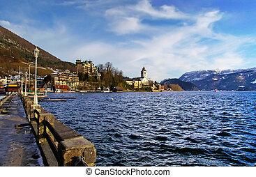 Village St Wolfgang on the lake Wolfgangsee at winter - Salzburg Austria
