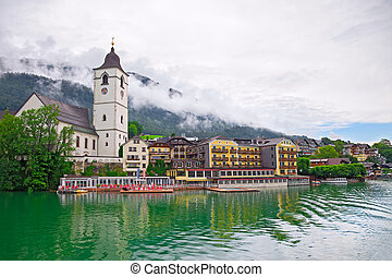 Village St. Wolfgang on the lake Wolfgangsee Austria - The ...