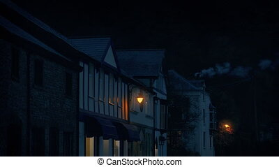 Village Storefronts In The Evening With Smoking Chimney