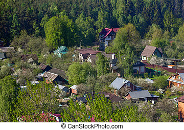 village surrounded by trees in Moscow region in Russia