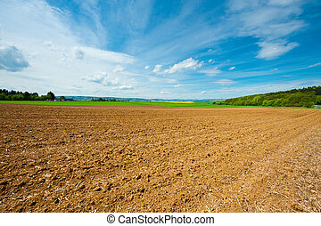 Plowed Field - Village Surrounded by Yellow Fields of ...