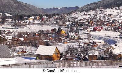 Village trian move mountain winter