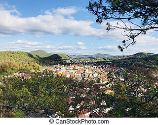 Village view from a mountain in Rheinland Pfalz region -...