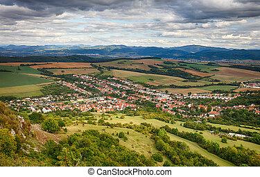 village, -, vue aérienne, dolna, suca, slovaquie