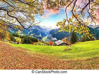 village, vue, pittoresque, vallée, automne, lauterbrunnen, alpin, wengen, fabuleux