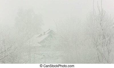 village winter snow day, Novorossia