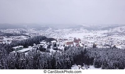 Village with buildings all covered with snow . Aerial view