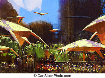 village with fantasy buildings,scenery,illustration painting