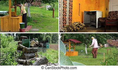 village works collage - Villager get water from well. Girl...