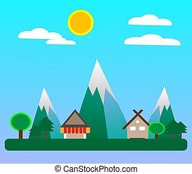 villagein, forår, lejlighed, sæson, konstruktion