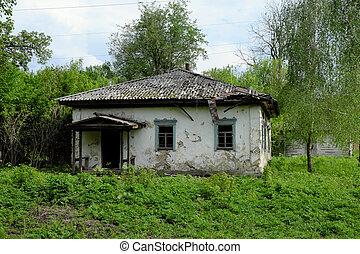 villages., 家, 1(人・つ), 捨てられた, ウクライナ, 古い, scenery.