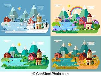 villaggio, a, estate, inverno, autunno, spring.panorama