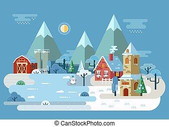 villaggio, a, inverno, con, casa, e, granaio, chiesa