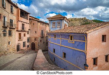 villaggio, albarracin, strade, pittoresco, in?aragon, medievale