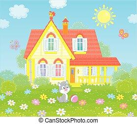 villaggio, casa, su, uno, soleggiato, giorno estate