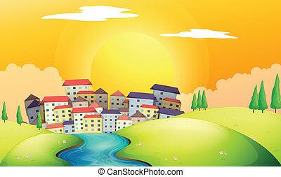 villaggio, fiume, fluente