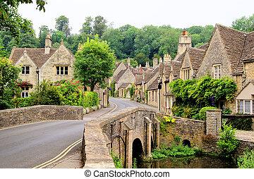 villaggio, in, il, inglese, cotswolds