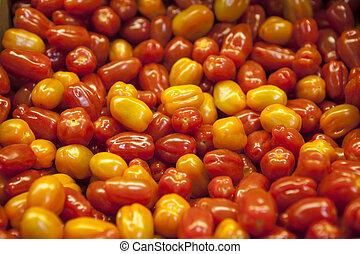 villaggio, mercato, organico, tomatoes., qualitativo, fondo,...