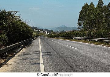 villaggio, montagna, condurre, strada