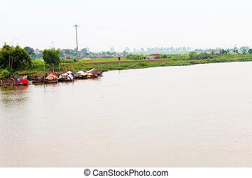 villaggio pesca, su, il, fiume