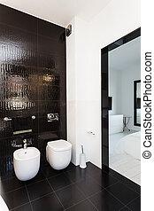 villaház, vibráló, fürdőszoba, belső, -