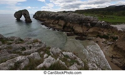Villahormes Cliffs near shore, Spain. - Rocky coast and...