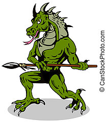 Villain Dragonhead - Illustration of an angry villain alien ...