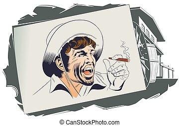 villain., illustration., occidental, acción