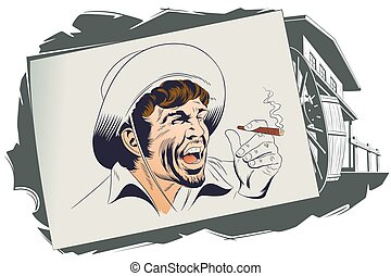 villain., illustration., ocidental, estoque