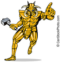 Villain Knight Armor with Hammer - Illustration of a villain...
