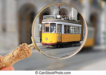 villamos, alatt, lisszabon, portugália