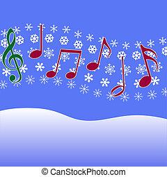 villancico, música, navidad, copos de nieve