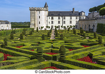 Chateau Villandry and formal gardens in the Loire Valley in France.