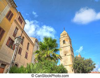 Villanova Montelelone steeple and buildings in hdr tone